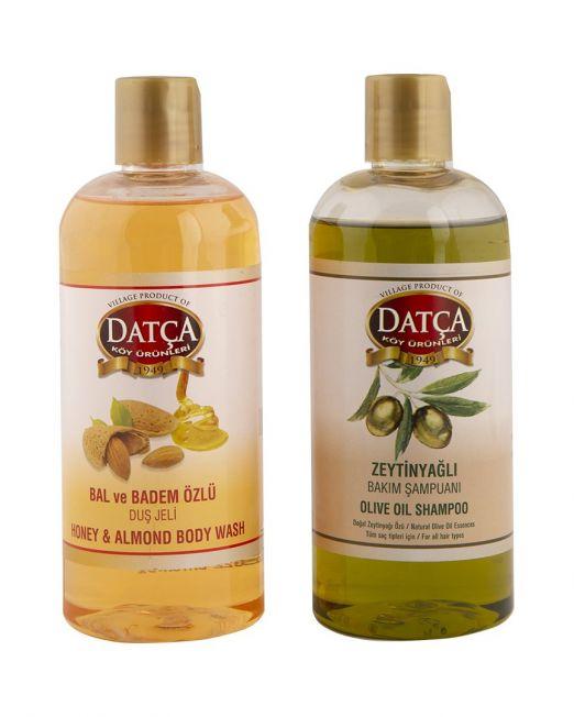 bal ve badem özlü duş jeli ve zeytinyağlı bakım şampuanı